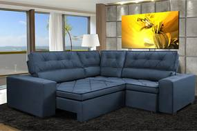 Sofa De Canto Retrátil E Reclinável Com Molas Cama Inbox Austin 2,20m X 2,20m Suede Velusoft Azul