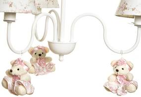 Lustre 3L Simples Com 3 Ursinhas De Tiara Quarto Bebê Infantil Menina Potinho de Mel