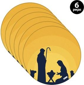 Sousplat Mdecore Natal Jesus 32x32cm Amarelo 6pçs