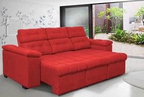 Sofa Columbia 2,40 Mts Retrátil E Reclinavel Tecido Suede Vermelho