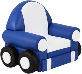 Sofá Infantil Car Baby C/Rodízio Azul/Branco - Stay Puff
