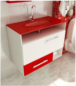 Gabinete para Banheiro 80 cm com 2 Peças Linea 17 Branco e Vermelho Tomdo