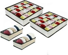 2 Kits Organizadores de Gavetas (4 peças) Vb Home Bege