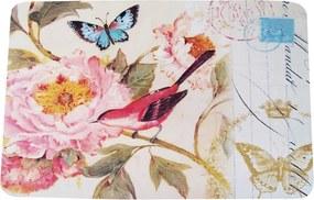 Jogo Americano Pássaro Vermelho e Flor Rosa em MDF - 30x40 cm