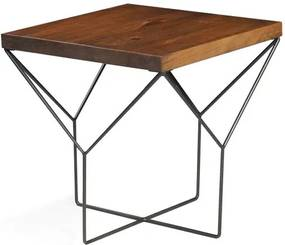 Mesa Lateral Abbey Yvi Rustic Brown com Base Grafite 55 cm (ALT) - 50090 Sun House