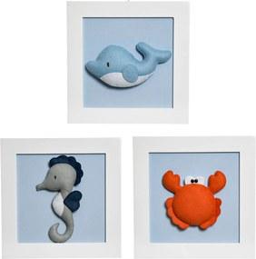 Trio De Quadros Mar Potinho de Mel Azul