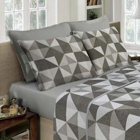 Lencol Duplo Solteiro Portallar -Design Linho Multi Textura Cinza Cimento
