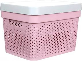 Caixa Organizadora G C/ Tampa - 17L - 35Cm X 26Cm X 21,5Cm - Container Pink