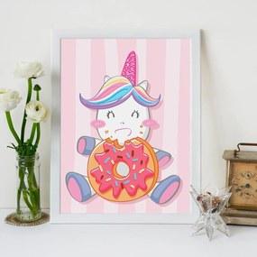 Quadro Decorativo Infantil Cute Unicorn Branco - 30x40cm