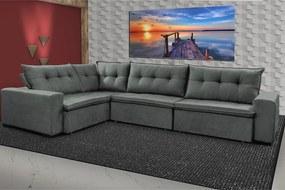Sofa De Canto Retrátil E Reclinável Com Molas Cama Inbox Oklahoma 3,65x2,51 Ou 2,51x3,65 Cinza
