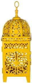 Lanterna Média Marroquina Flor New Amarela em Metal - Urban