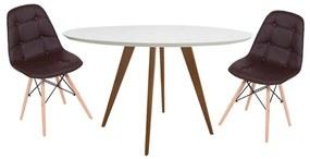 Conjunto Mesa Square Redonda Branco Fosco 80cm + 2 Cadeiras Eiffel Botonê Marrom