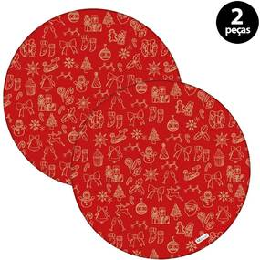 Capa para Sousplat Mdecore Natal Boneco de Neve Vermelho2pçs
