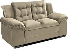 Sofá com Fibra no Assento e Encosto Granada 2 Lugares Tecido Suede Bege - Umaflex