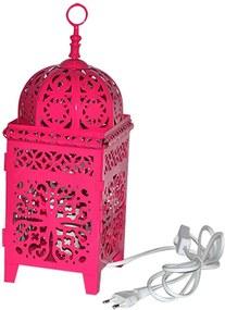 Luminária Quadrada Marroquina Flor New Med Rosa em Metal - Urban