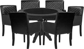 Mesa de Jogos Carteado Montreal Redonda Tampo Reversível Preto com 6 Cadeiras Liverpool Corino Preto Matelassê - Gran Belo