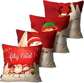 Kit 4 Capas para Almofadas Mdecore Natal Feliz Natal Vermelha45x45cm