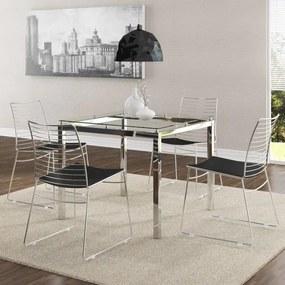 Conjunto Mesa Quadrada com 4 Cadeiras Aramadas Carraro - Aço Cromado/Preto