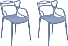 Kit 2 Cadeiras Decorativas Sala e Cozinha Feliti (PP) Azul Caribe - Gran Belo