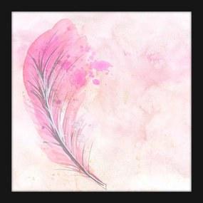 Quadro Pequeno Decorativo Pena Rosa Aquarela com Moldura Preta