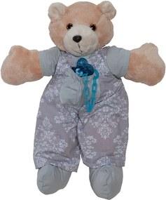 Urso Porta Chupeta Retrô Cinza