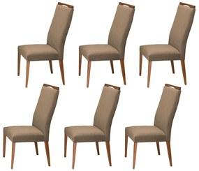 Conjunto 6 Cadeira Decorativa Lívia Aveludado Nude