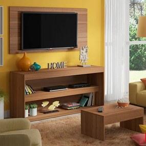 Rack Com Painel e Mesa de Centro Kingston Nogueira - Madesa Móveis