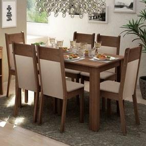 Conjunto Sala de Jantar Madesa Jaíne Mesa Tampo de Madeira com 6 Cadeiras Rustic/Crema/Pérola Cor:Rustic/Crema/Pérola