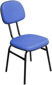 Cadeira de Escritório Secretária 3/4 CSF01 Fixa Corino Azul - Pethiflex