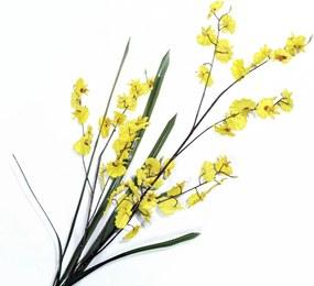Orquídea Pingo de Ouro c/ Folha Artificial Galho Haste 120cm