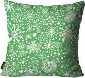 Capa para Almofada Mdecore Natal Flocos de Neve Verde 45x45cm