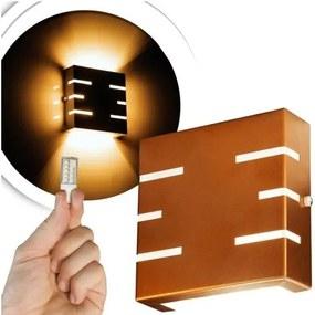 Arandela Frisada Flat Externa c/ LED 5W Incluso | Cor da Luz: 2.700k | Tam: 14x14cm | Cor: Cobre | Soq: G9 | Mod: Quorra