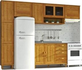Cozinha Compacta Jade com 5 Módulos - Madeira maciça - Cor Nogueira