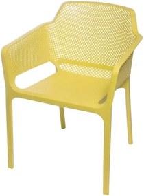 Cadeira Net Nard Empilhavel Polipropileno com Braco cor Amarelo - 53568 Sun House