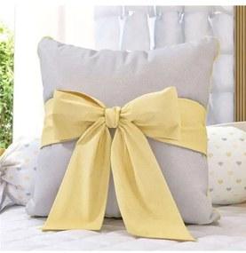 Almofada Cinza Amarela Quadrada Laço 30cm Grão de