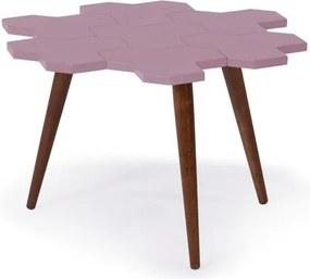 Mesa de Centro Colméia com Tampo Rosa Claro Laqueado e Estrutura Madeira Maciça