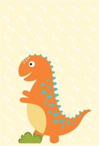 Placa Decorativa Quartinhos Infantil Dinossauro Baby 2 Laranja 30x40cm