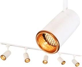Trilho Eletrificado 2 metros com 5 Spots Branco SOQ: GU10 2700K | COR: Branco com Cobre | TAM: 2M | MOD: Z5