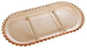Petisqueira Cristal Com 3 Divisões Oval Pearl Âmbar 30x15x2cm 28407 Wolff