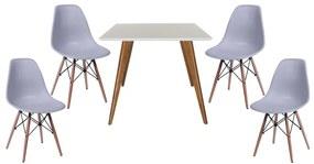 Conjunto Mesa Square Quadrada Branco Fosco 90x90cm + 4 Cadeiras Eiffel Cinza Pés Madeira