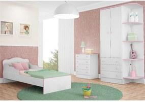 Jogo de Quarto Infantil Doce Sonho com Mini Cama Branco com Rosa - QMovi