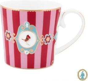 Caneca Grande Medallion Stripes Rosa e Vermelho Love Birds Pip Studio