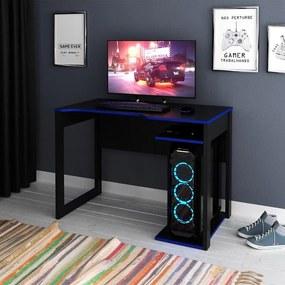 Mesa Gamer Escrivaninha Home Office Nicho Preto Azul