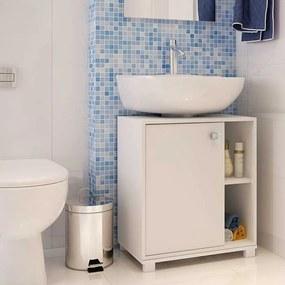 Balcão para Banheiro Multi 1 Porta 2 Prateleiras 53cm Branco