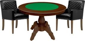 Mesa de Jogos Carteado Redonda Montreal Tampo Reversível Imbuia com 2 Cadeiras Liverpool Corino Preto Matelassê - Gran Belo