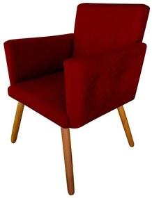 Poltrona Decorativa Nina Plus Suede Bordô - Sheep Estofados - Vermelho escuro