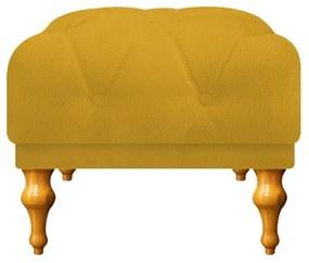 Puff Decorativo Dani Pés Provençais Suede Amarelo - ADJ Decor