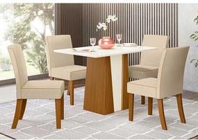 Mesa de Jantar Orus Tampo Retangular 120cm com 4 Cadeiras Maris Nature Off White Linho