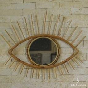 Espelho Olho Grego Rattan   Bali