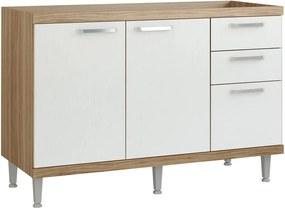 Balcão de Cozinha Sem Pia e Tampo 120 cm Argila Fosco Branco - Multimóveis
